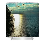 Sunset On The Bay Of Green Bay Wi Shower Curtain