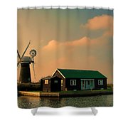 Sunset On The Broads Shower Curtain