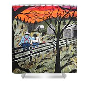 Sunset On The Fence Shower Curtain