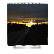 Sunset On The Highway Shower Curtain