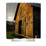Sunset On The Horse Barn Shower Curtain by Edward Fielding