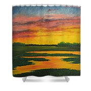 Sunset On The Marsh Shower Curtain