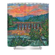 Sunset On The New River Shower Curtain