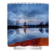Sunset On The Pond Shower Curtain