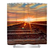 Sunset On The Rails Shower Curtain