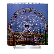 Sunset On The Santa Monica Ferris Wheel Shower Curtain