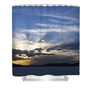 Sunset On Uyuni Salt Flats Shower Curtain