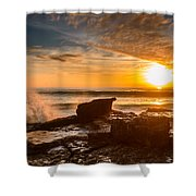 Sunset Over A Rough Sea I Shower Curtain