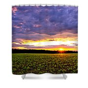 Sunset Over Farmland Shower Curtain