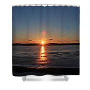 Sunset Over Frozen Wachusett Reservoir 2 Shower Curtain