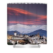 Sunset Over Granada And The Alhambra Castle Shower Curtain