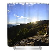 Sunset Over Halloween Decorations On Black Rock Mountain Shower Curtain