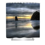 Sunset Over Haystack Rock In Cannon Beach Shower Curtain