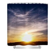 Sunset Over Hills With Clouds Shower Curtain