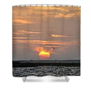 Sunset Over Lake Como Shower Curtain