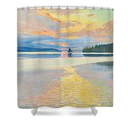 Sunset Over Lake Ruovesi Shower Curtain