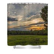 Sunset Over Lupine Fields Shower Curtain