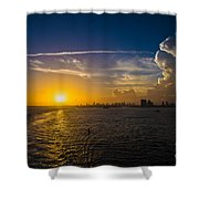 Sunset Over Miami From Out At Sea Shower Curtain