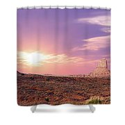 Sunset Over Mountain Valley Shower Curtain by Aged Pixel