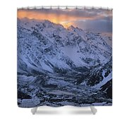 Sunset Over Mueller Glacier Lake Shower Curtain