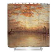 Sunset Over New York Bay Shower Curtain