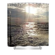 Sunset Over Nj After Fishing Shower Curtain