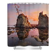 Sunset Over Pig And Sow Inlet At Oregon Coast Shower Curtain