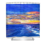 Sunset Over Point Lonsdale As Viewed From Cape Schanck  Shower Curtain