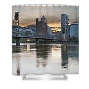 Sunset Over Portland City Skyline Panorama Shower Curtain