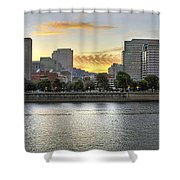 Sunset Over Portland Downtown Skyline Shower Curtain
