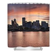 Sunset Over Portland Oregon Waterfront Panorama Shower Curtain