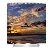 Sunset Over Rethymno Crete Shower Curtain