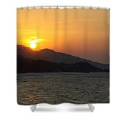 Sunset Over Samos Shower Curtain