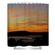Sunset Over San Francisco Bay And Mount Tamalpais Shower Curtain