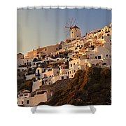 Sunset Over Santorini Village Shower Curtain