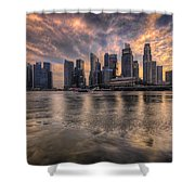 Sunset Over Singapore Skyline Shower Curtain