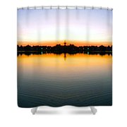 Sunset Over Still Waters Mirror Image Shower Curtain