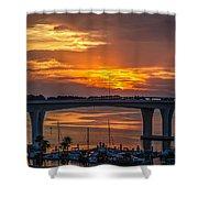 Sunset Over The Bridge Shower Curtain