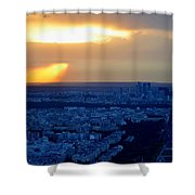 Sunset Over The Eiffel Tower Shower Curtain