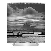 Sunset Over The Gulf Of Thailand Black And White Shower Curtain
