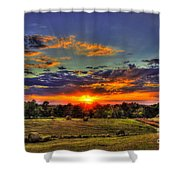 Sunset Over The Hay Field Shower Curtain