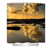Sunset Over The Ocean V Shower Curtain by Marco Oliveira