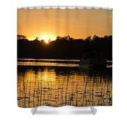 Sunset Over The Pontoon 4 Shower Curtain