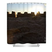 Sunset Over The Sand Castle 4 Shower Curtain