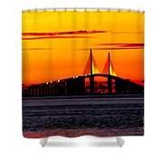 Sunset Over The Skyway Bridge Crop Shower Curtain