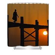 Sunset Over The U Bein Foot Bridge Shower Curtain