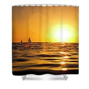 Sunset Over The Water In Waikiki Shower Curtain