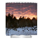 Sunset Over The Winter Forest Shower Curtain