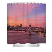 Sunset Over Tilikum Crossing Shower Curtain
