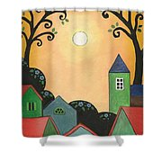 Sunset Over Town Shower Curtain